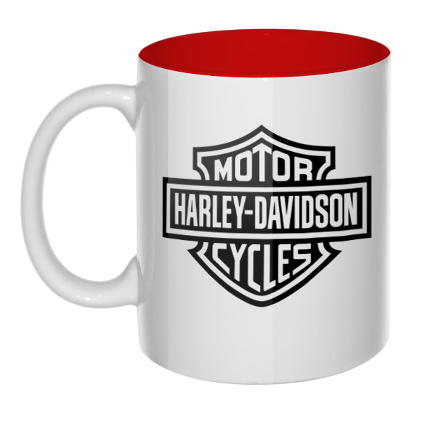 Кружка Harley Davidson, цветная внутри, цвет красный