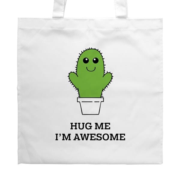 Белая сумка Hug me I'm awesome