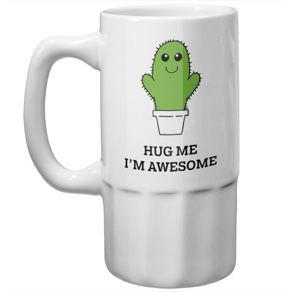 Пивная кружка Hug me I'm awesome