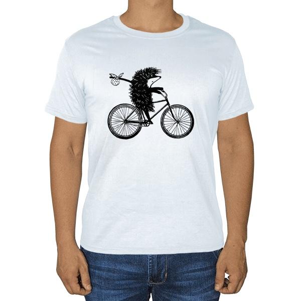 Белая футболка Ежик на велосипеде