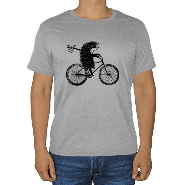 Ежик на велосипеде, серая футболка (меланж)