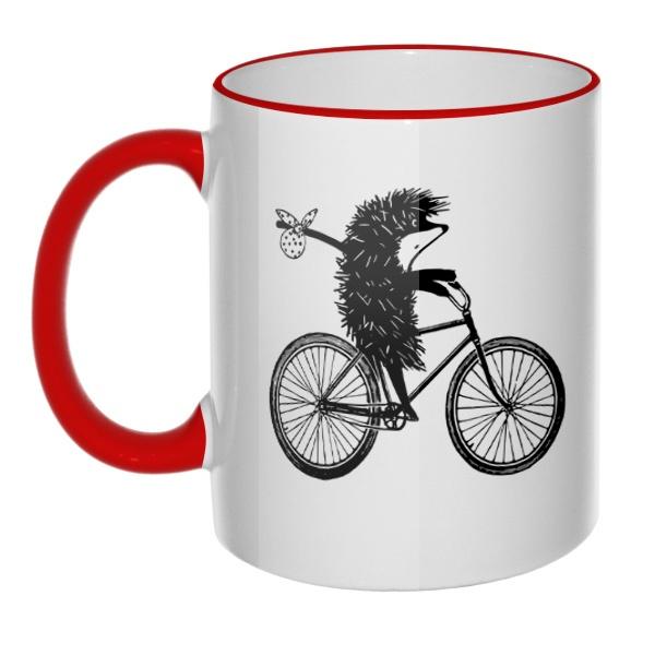 Кружка Ежик на велосипеде с цветным ободком и ручкой