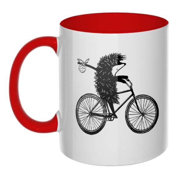 Ежик на велосипеде, кружка цветная внутри и ручка