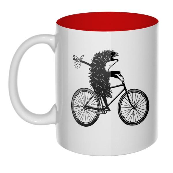 Ежик на велосипеде, кружка цветная внутри