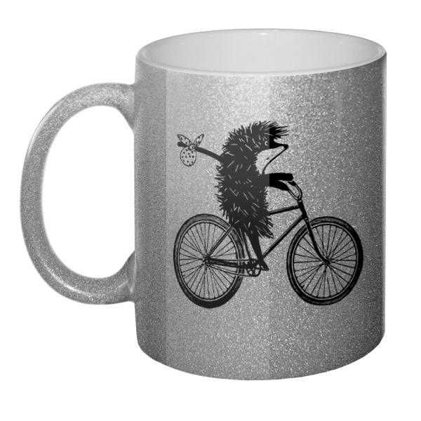 Кружка блестящая Ежик на велосипеде