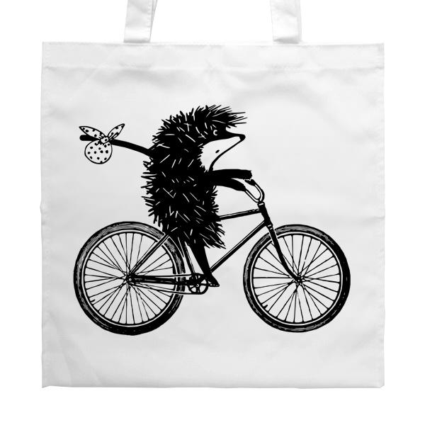 Белая сумка Ежик на велосипеде