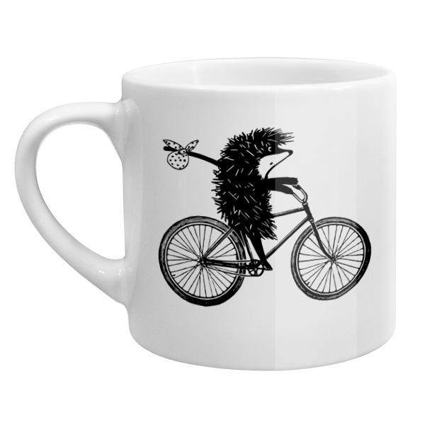 Кофейная чашка Ежик на велосипеде