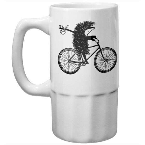 Пивная кружка Ежик на велосипеде