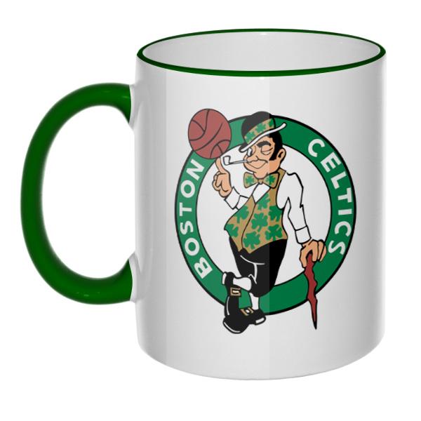 Кружка Boston Celtics, цветной ободок и ручка
