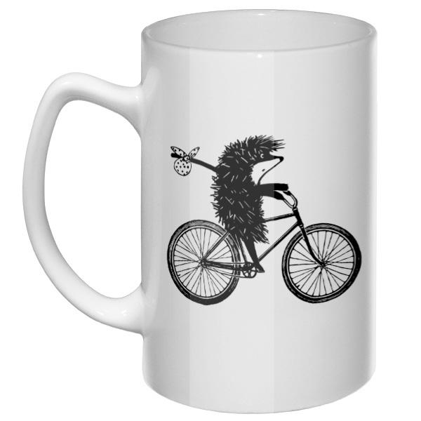 Большая кружка Ежик на велосипеде