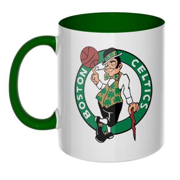 Кружка Boston Celtics, цветная внутри и ручка