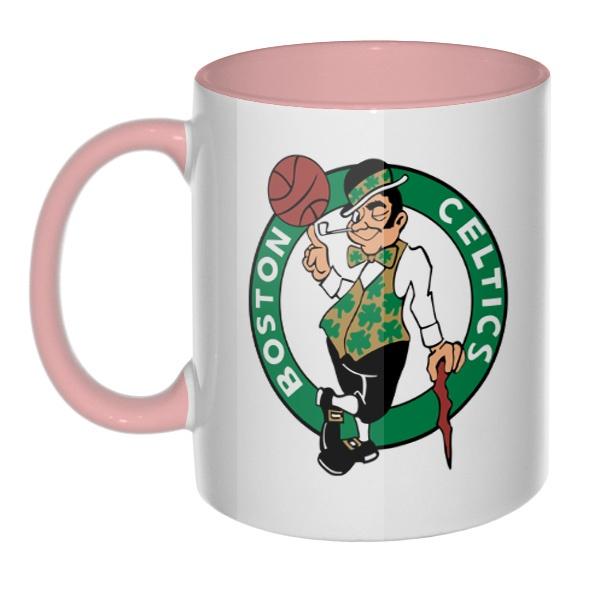 Кружка Boston Celtics, цветная внутри и ручка, цвет розовый