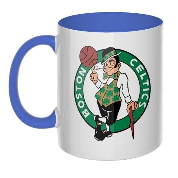 Кружка Boston Celtics, цветная внутри и ручка, цвет лазурный