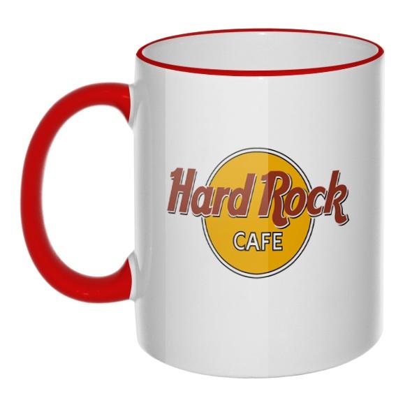 Кружка Hard rock cafe с цветным ободком и ручкой