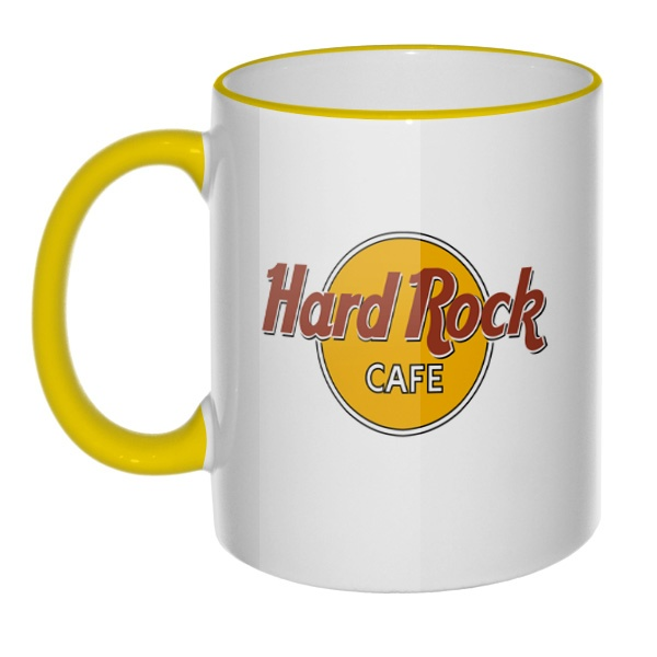 Кружка Hard rock cafe с цветным ободком и ручкой, цвет желтый