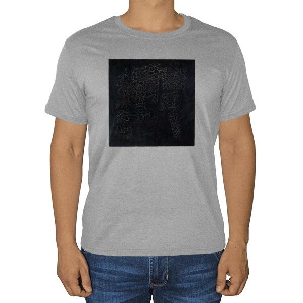 Черный квадрат, серая футболка (меланж)