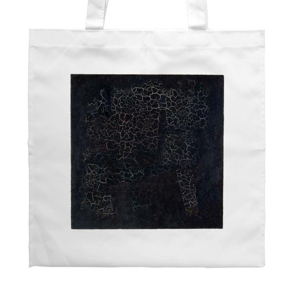 Белая сумка Черный квадрат, цвет белый