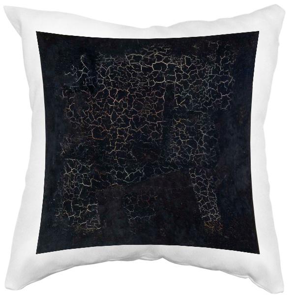 Подушка белая Черный квадрат