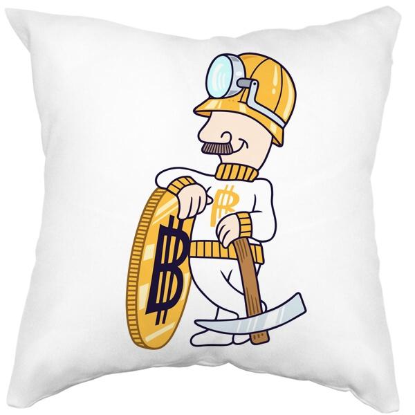 Подушка белая Bitcoin Miner