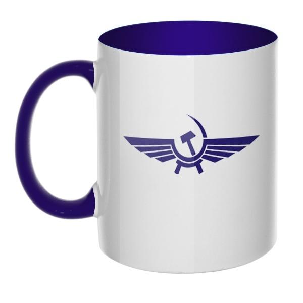 Кружка Аэрофлот СССР, цветная ручка + внутри, цвет темно-синий