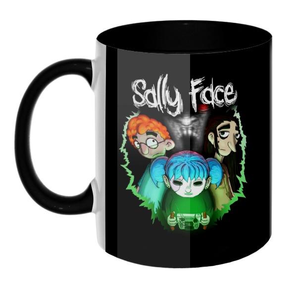 3D-кружка Sally Face (Салли фейс), цветная внутри и ручка, цвет черный
