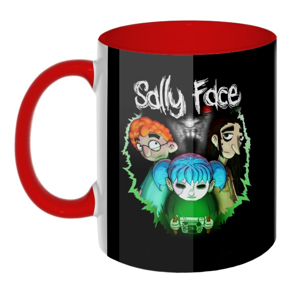 3D-кружка Sally Face (Салли фейс), цветная внутри и ручка
