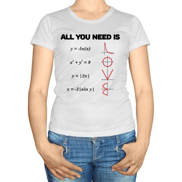 Женская футболка All you need is love, цвет белый