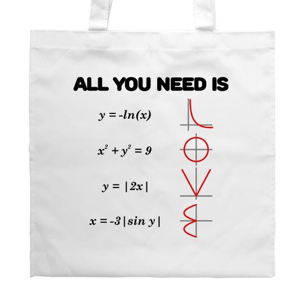 Белая сумка All you need is love, цвет белый