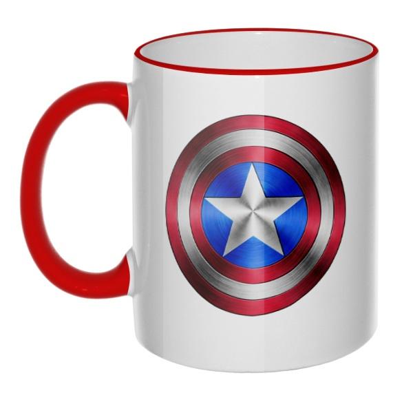 Кружка Капитан Америка, цветная ручка + ободок, цвет красный
