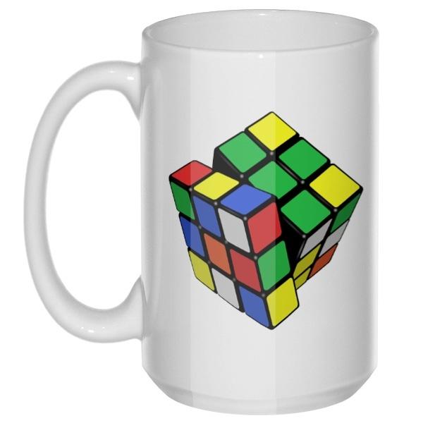 Кубик Рубика, большая кружка с круглой ручкой