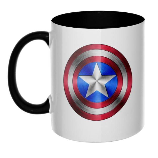 Кружка Капитан Америка, цветная ручка + внутри, цвет черный