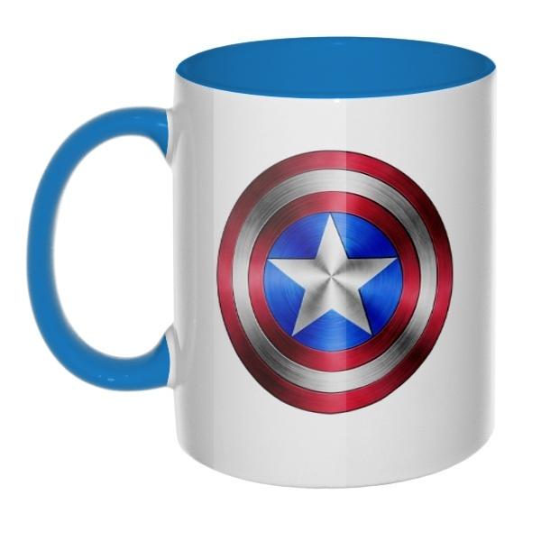 Кружка Капитан Америка, цветная ручка + внутри, цвет голубой