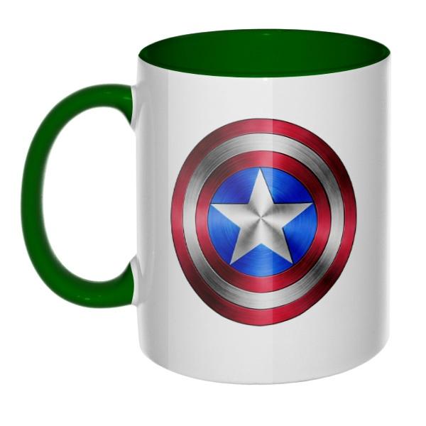 Кружка Капитан Америка, цветная ручка + внутри, цвет зеленый