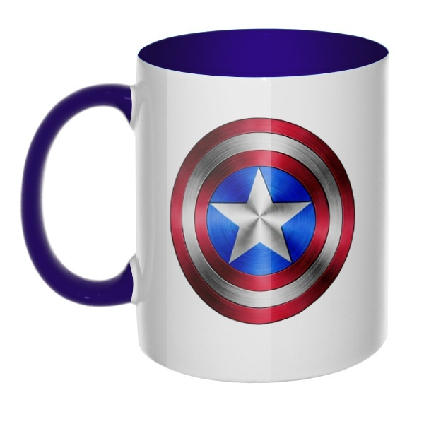 Кружка Капитан Америка, цветная ручка + внутри, цвет темно-синий