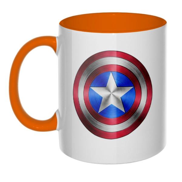 Кружка Капитан Америка, цветная ручка + внутри, цвет оранжевый