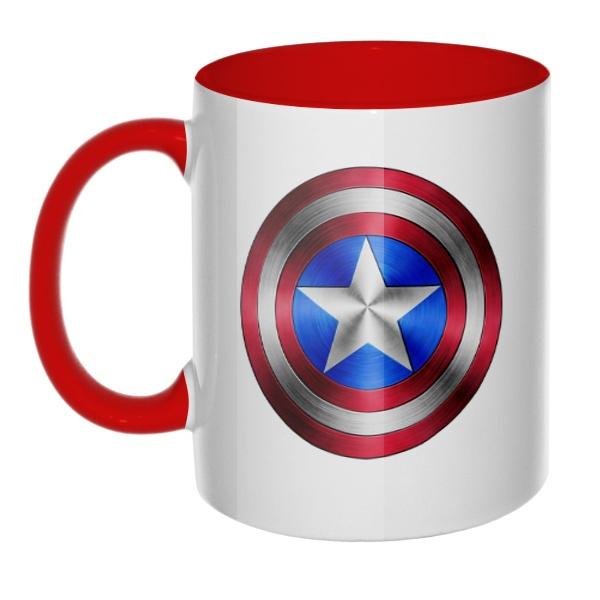 Кружка Капитан Америка, цветная ручка + внутри