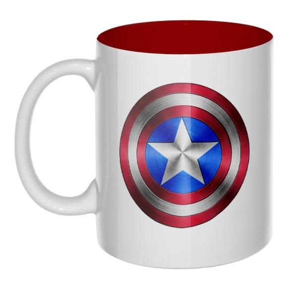 Кружка Капитан Америка, цветная внутри, цвет бордовый