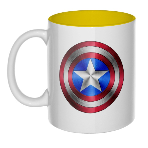Кружка Капитан Америка, цветная внутри, цвет желтый