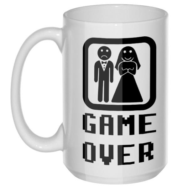Game Over: женился, большая кружка с круглой ручкой