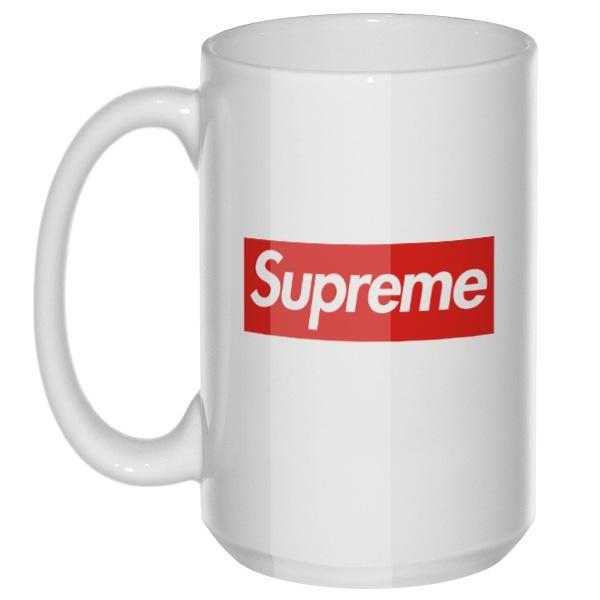 Supreme, большая кружка с круглой ручкой