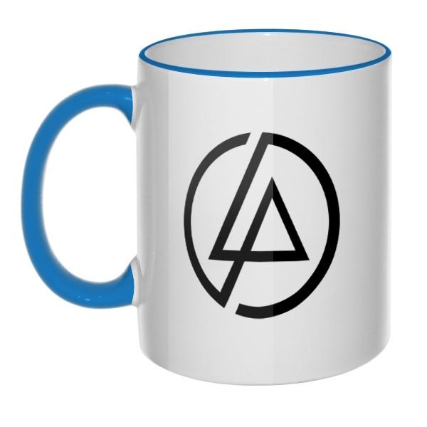 Кружка Linkin Park, цветная ручка + ободок, цвет голубой