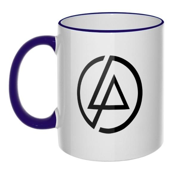 Кружка Linkin Park, цветная ручка + ободок, цвет темно-синий