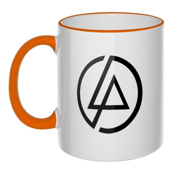 Кружка Linkin Park, цветная ручка + ободок