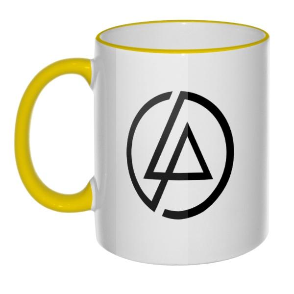 Кружка Linkin Park, цветная ручка + ободок, цвет желтый