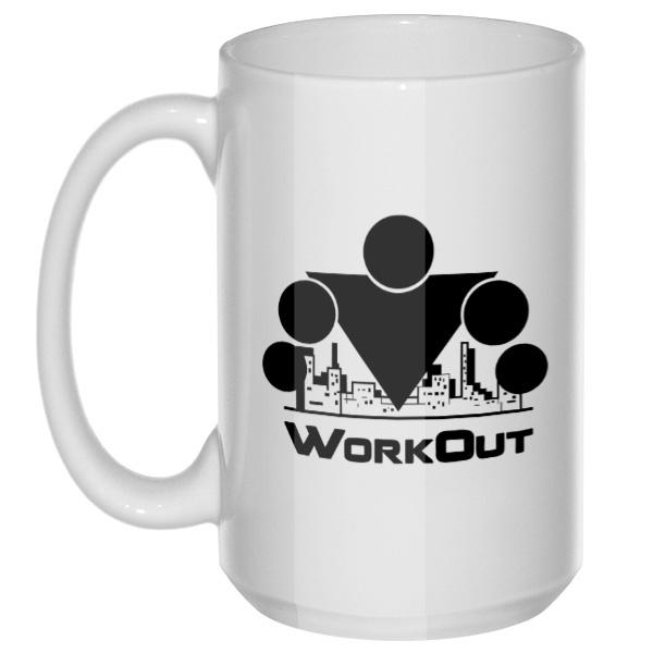 Workout, большая кружка с круглой ручкой