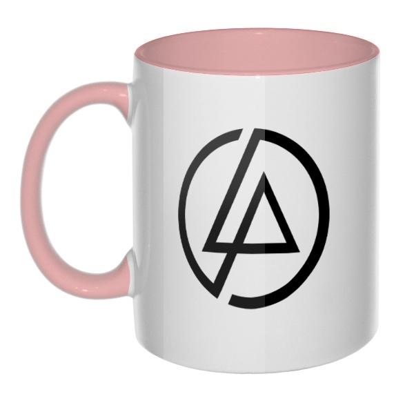 Кружка Linkin Park, цветная ручка + внутри, цвет розовый