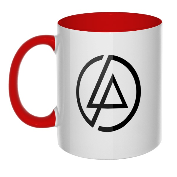 Кружка Linkin Park, цветная ручка + внутри, цвет красный