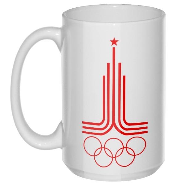 Эмблема Олимпиады 1980, большая кружка с круглой ручкой