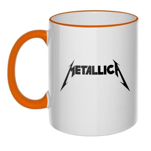 Кружка Metallica, цветная ручка + ободок