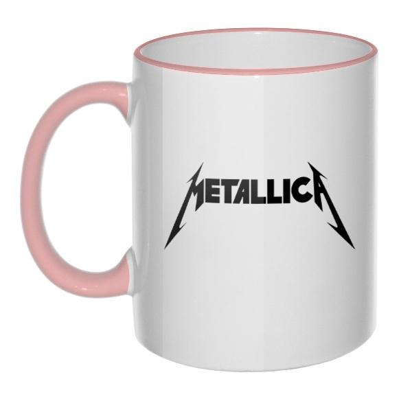 Кружка Metallica, цветная ручка + ободок , цвет розовый